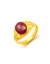 Exaggerate Claret-red Round Shape Gemstone Decorated Simple Ring