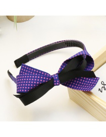 Lovely Navy Bowknot Decorated Color Matching Hair Hoop