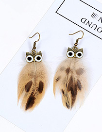 Vintage Coffee Owl Shape Design Simple Earrings