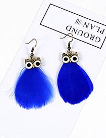 Vintage Royalblue Owl Shape Design Simple Pure Color Earrings