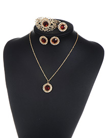 Fashion Red Round Shape Diamond Decorated Simple Jewelry Sets