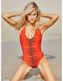 Fashion Orange Pure Color Decorated V Neckline Bikini