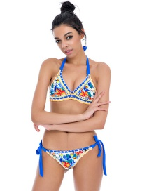 Fashion Blue Flower Decorated Hand-woven Design Bikini