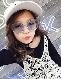 Fashion Light Blue Pure Color Decorated Anti-ultraviolet Children Sunglasses