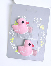 Fashion Pink Cartoon Duck Decorated Pure Color Hairpin(2pcs)