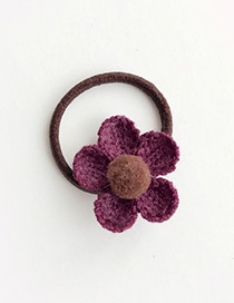 Fashion Claret Red Flower Decorated Color Matching Hair Band