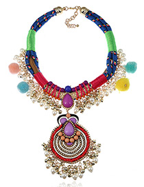 Fashion Multi-color Fuzzy Ball&pearl Decorated Color Matching Pom Necklace