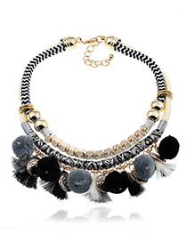 Fashion Black Tassel&fuzzy Ball Decorated Double Layer Pom Necklace