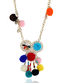 Fashion Multi-color Fuzzy Balls&beads Decorated Color Matching Pom Necklace