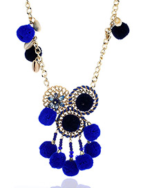 Fashion Sapphire Blue Fuzzy Balls&beads Decorated Color Matching Pom Necklace