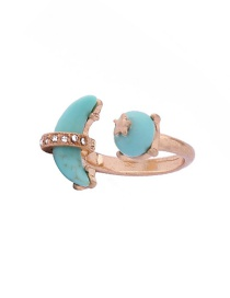 Fashion Gold Color Moon&star Decorated Pure Color Ring