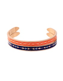 Fashion Orange+blue Flower Pattern Decorated Color Matching Bracelet
