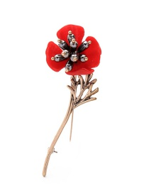 Fashion Red Flower Decorated Color Matching Brooch
