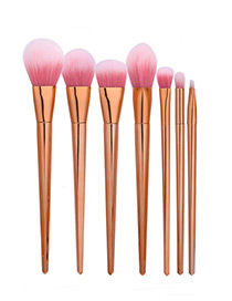 Trendy Rose Gold Rhomus Shape Decorated Color Matching Makeup Brush(7pcs)