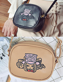 Fashion Khaki Embroidery Girl Decorated Simple Shoulder Bag