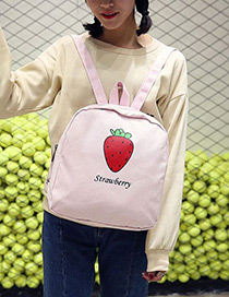 Fashion Pink Strawberry Pattern Decorated Simple Backpack