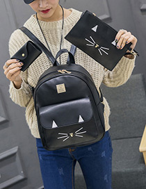 Lovely Black Cartoon Cat Decorated Pure Color Backpack(3pcs)