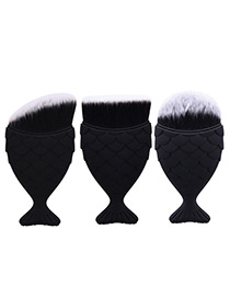 Trendy Black Pure Color Decorated Mermaid Makeup Brush(3pcs)