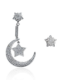 Fashion Silver Color Star&moon Decorated Asymmetric Earrings