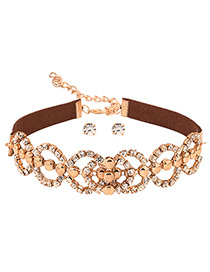 Exaggerated Gold Color Full Diamond Decorated Hollow Out Choker