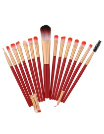 Fashion Red Color Matching Decorated Makeup Brush(15pcs)