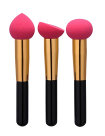 Fashion Red Color Matching Decorated Puff Makeup Brush(3pcs)