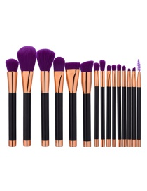 Fashion Purple Color Matching Decorated Makeup Brush(15pcs)