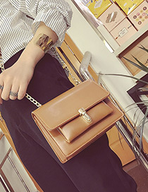 Fashion Light Brown Buckle Decorated Pure Color Shoulder Bag