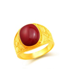 Fashion Red Flower Pattern Decorated Color Matching Ring