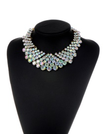 Fashion Multi-color Round Shape Diamond Decorated Color Matching Necklace