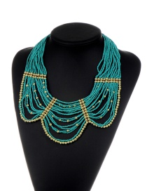 Fashion Blue Beads Decorated Pure Color Multi-layer Necklace