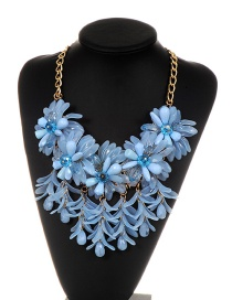 Fashion Blue Flowers Decorated Pure Color Necklace