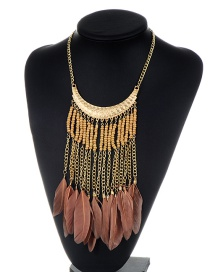 Fashion Coffee Feather&tassel Decorated Color Matching Necklace
