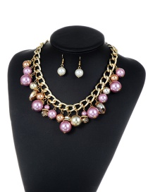 Fashion Purple Pearls Decorated Color Matching Jewelry Sets