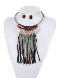 Fashion Multi-color Long Tassel Decorated Double Layer Jewelry Sets