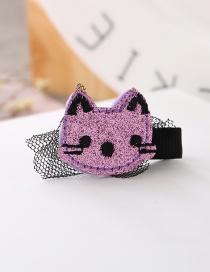 Fashion Purple Cat Shape Decorated Pure Color Simple Hair Clip