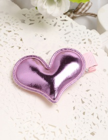 Fashion Pink Heart Shape Decorate Pure Color Simple Hair Clip