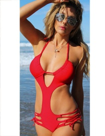 Fashion Red Pure Color Decorated Hollow Out Bandage Swimsuit