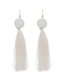 Fashion White Long Tassel Decorated Pure Color Earrings