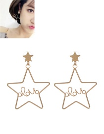 Fashion Gold Color Stars Decorated Pure Color Earrings