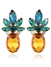 Exaggerated Green+yellow Geometric Shape Diamond Decorated Color Matching Earrings