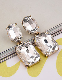 Exaggerated White Square Shape Gemstone Decorated Pure Color Earrings