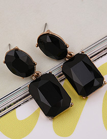 Exaggerated Black Square Shape Gemstone Decorated Pure Color Earrings