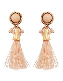 Fashion Pink Tassel Decorated Pure Color Simple Earrings