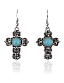 Fashion Green Round Shape Gemstone Decorated Cross Shape Earrings