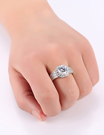 Fashion Silver Color Round Shape Diamond Decorated Pure Color Ring