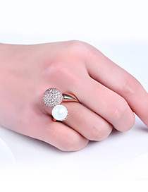 Fashion Rose Gold Pearl&diamond Decorated Opening Ring