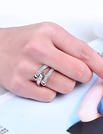 Fashion Silver Color Cross Design Pure Color Opening Ring