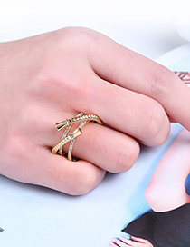 Fashion Gold Color Pure Color Decorated Cross Design Ring