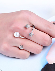Fashion Silver Color Stars&pearls Decorated Letter 3 Shape Ring